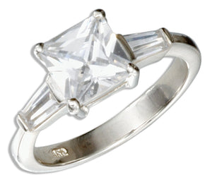 Sterling Silver Princess Cut Cubic Zirconia Engagement Ring with Baguettes