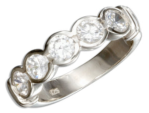 Sterling Silver Bezel Set Five Cubic Zirconia Wedding Band Ring