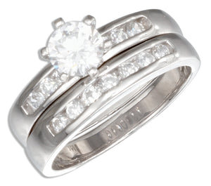 Sterling Silver Round Cubic Zirconia Channel Set Wedding Ring Set