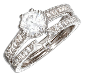 Sterling Silver Vintage Design Round Cubic Zirconia Wedding Ring Set