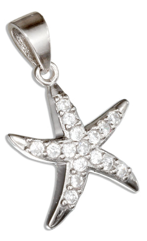 Sterling Silver Pave Cubic Zirconia Starfish Pendant