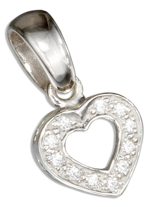 Sterling Silver Pave Cubic Zirconia Open Heart Pendant