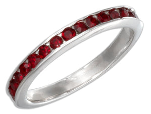 Sterling Silver January Birthstone Red Crystals Eternity Band Ring