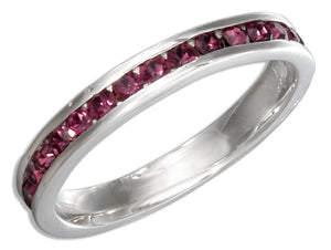 Sterling Silver February Birthstone Purple Crystals Eternity Band Ring