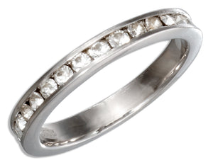 Sterling Silver April Birthstone Clear Crystals Eternity Band Ring