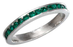 Sterling Silver May Birthstone Green Crystals Eternity Band Ring