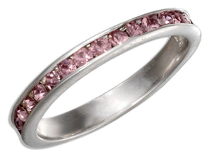 Sterling Silver June Birthstone Light Purple Crystals Eternity Band Ring