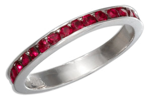 Sterling Silver July Birthstone Bright Red Crystals Eternity Band Ring