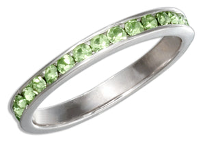 Sterling Silver August Birthstone Light Green Crystals Eternity Band Ring