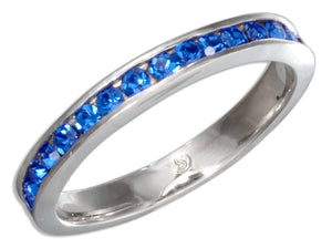 Sterling Silver September Birthstone Deep Blue Crystals Eternity Band Ring