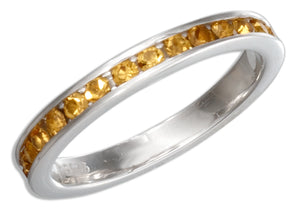 Sterling Silver November Birthstone Golden Yellow Crystals Eternity Band Ring