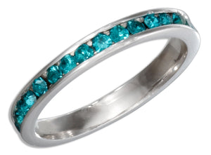 Sterling Silver December Birthstone Aqua Blue Crystals Eternity Band Ring