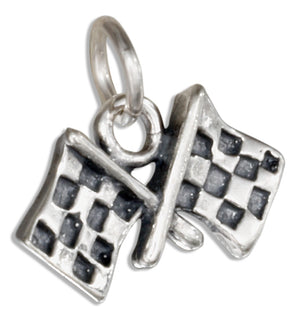 Sterling Silver Checkered Flags Charm