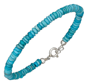 Sterling Silver 8 inch Thin Round Stabilized Turquoise Bead Bracelet