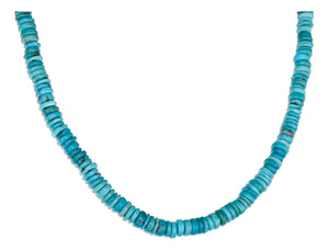 Sterling Silver 17.5 inch Thin Round Stabilized Turquoise Bead Necklace