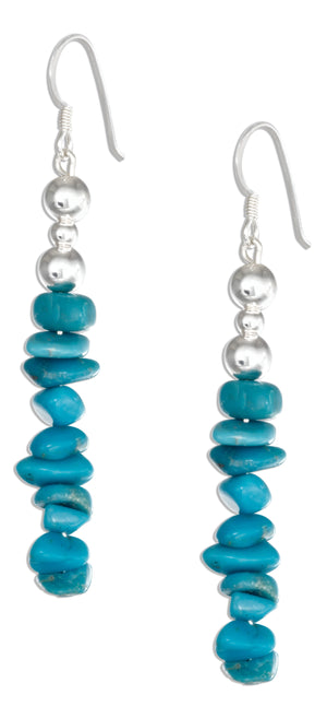 Sterling Silver Stabilized Turquoise Chip and Silver Bead Earrings