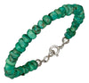 Sterling Silver 7.5 inch Mohave Green Stabilized Turquoise Chip Bead Bracelet