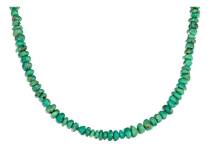 Sterling Silver 17.5 inch Mohave Green Stabilized Turquoise Chip Necklace
