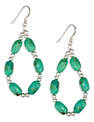Sterling Silver Mohave Green Stabilized Turquoise Bead Teardrop Earrings