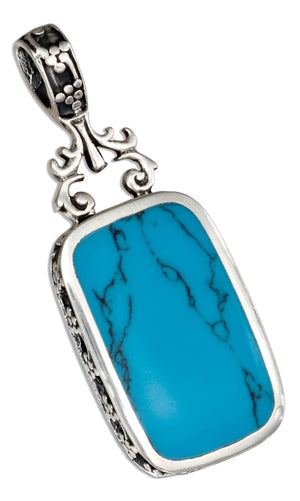 Sterling Silver Reversible Fancy Simulated Onyx and Simulated Turquoise Pendant