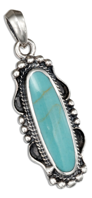 Sterling Silver Oval Simulated Turquoise Pendant with Rope and Beaded Edging