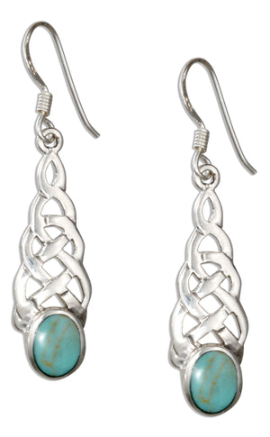 Sterling Silver Celtic Knot Earrings with Simulated Turquoise Oval