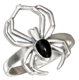 Sterling Silver Spider Ring with Simulated Black Onyx Body