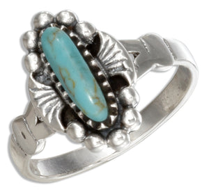Sterling Silver Southwest Thin Oval Simulated Turquoise Ring