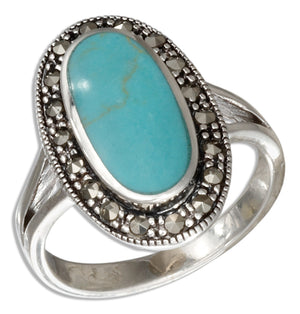 Sterling Silver Oval Simulated Turquoise Ring with Marcasite Border