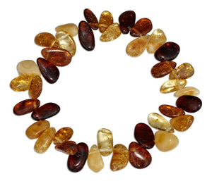 8 inch Multicolor Amber Pebble Stretch Bracelet