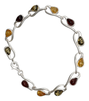 Sterling Silver 7 inch Loop and Multicolor Amber Link Bracelet