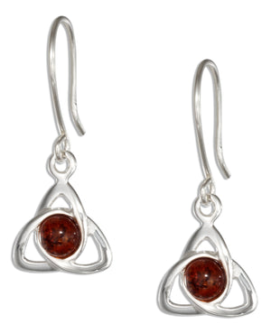 Sterling Silver Celtic Trinity Knot with Amber Earrings