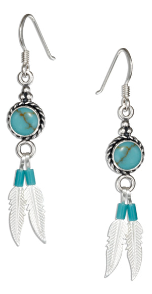 Sterling Silver Round Simulated Turquoise Earrings with Feather Dangles