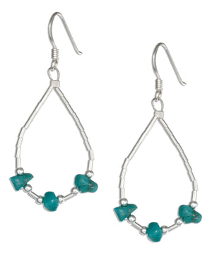 Sterling Silver Liquid Silver Loop with Simulated Turquoise Chips Earrings