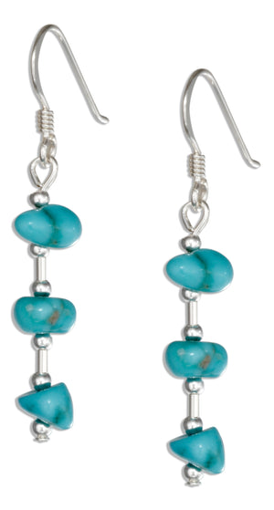 Sterling Silver Single Strand Small Simulated Turquoise Nugget Earrings