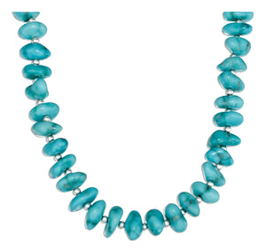 Sterling Silver 16 inch Small Simulated Turquoise Nugget Necklace