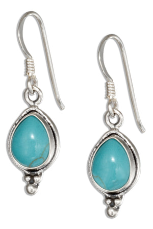 Sterling Silver Simulated Turquoise Teardrop Earrings with Beaded Accent