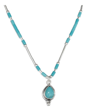 Sterling Silver 16 inch Liquid Silver with Simulated Turquoise Teardrop Necklace