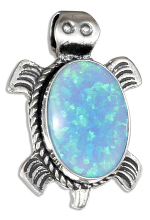 Sterling Silver Southwest Synthetic Blue Opal Turtle Pendant