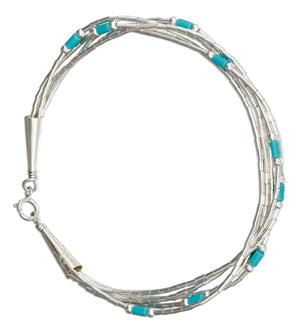 Sterling Silver 7.5 inch Five Strand Liquid Silver with Simulated Turquoise Bracelet
