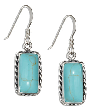 Sterling Silver Rectangle Simulated Turquoise Earrings with Rope Border