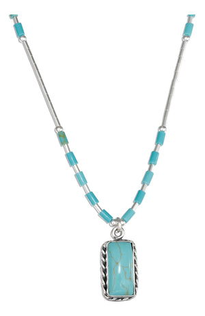 Sterling Silver 16 inch Liquid Silver with Rectangle Simulated Turquoise Necklace