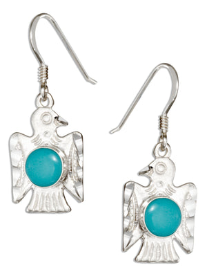 Sterling Silver Simulated Turquoise Thunderbird Earrings