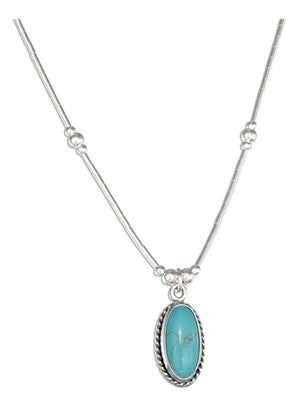 Sterling Silver 16 inch Liquid Silver with Oval Simulated Turquoise Necklace