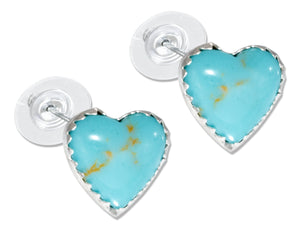 Sterling Silver Simulated Turquoise Heart Earrings