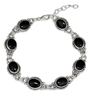 Sterling Silver 7 inch Southwest Design Oval Simulated Black Onyx Link Bracelet