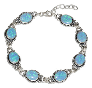 Sterling Silver 7 inch Synthetic Blue Opal Oval Link Bracelet