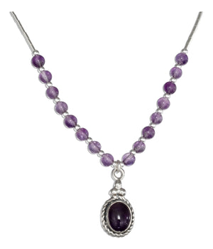Sterling Silver 16 inch Southwest Liquid Silver Oval Amethyst Necklace
