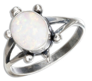 Sterling Silver Synthetic White Opal Turtle Ring