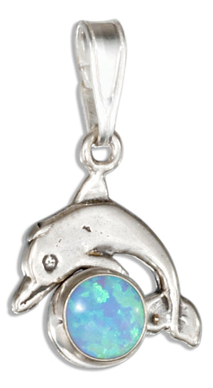 Sterling Silver Jumping Dolphin Pendant with Synthetic Blue Opal